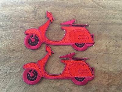 2PCS Embroidered Iron On Patch Cars Motorcycle Van Vespa Rider Badge Fabric Cra