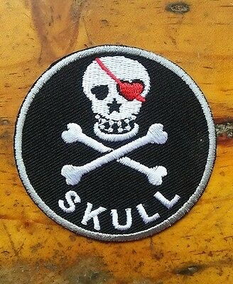 Cool Pirate Skull with Eye patch Embroidered Iron On / Sew On Patches