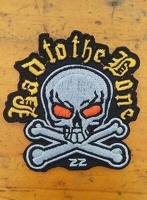 Bad to the Bone Biker Skull Embroidered Patch - Motorcycle Jacket Iron On