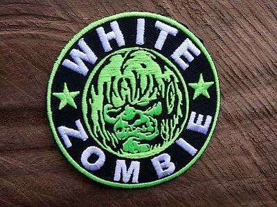 New WHITE ZOMBIE ROB HEAVY METAL Embroidered Easy Iron On Green Patch.