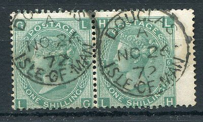 GB QV 1871 SG 117 1s green plate 6 good to fine used horizontal pair with cds