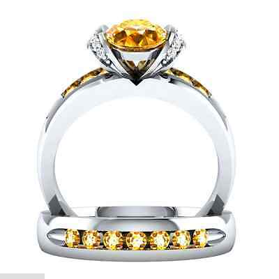 Fashion Woman Round Cut Citrine 925 Silver Wedding Ring Size 6-10