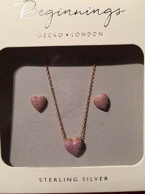 """Sterling Silver Jewellery Earrings and 18"""" Necklace. Rose Gold with Enamel"""