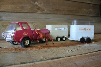 Vintage 70's Tonka Truck Horse And 2 x Trailer Set