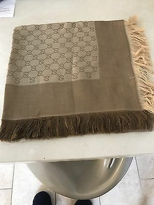 Brand New Gucci Double Gg Logo Ladies Scarf Shawl In Beige**look**