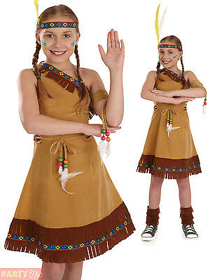 Childs Indian Squaw Costume Girls Pocahontas Fancy Dress Kids Book Week Outfit