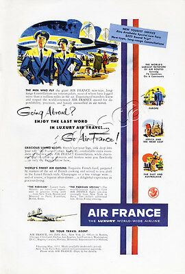 Authentic 1952 AIR FRANCE Full Page Retro / Vintage American Magazine Travel Ad