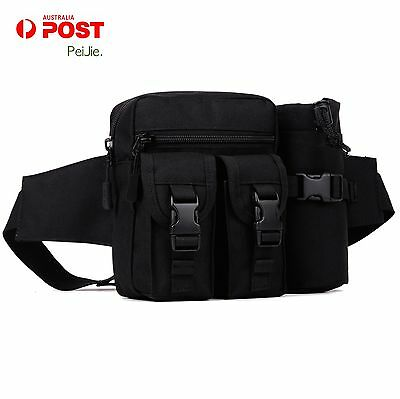 Tactical Waist Pack Pouch With Water Bottle Pocket Holder Molle Fanny Hip Belt B