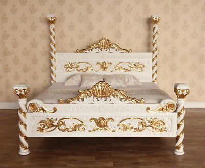 "Antique White and Gold Venetian 4 Poster Bed 4'6"" Double Handcarved B017W&G"