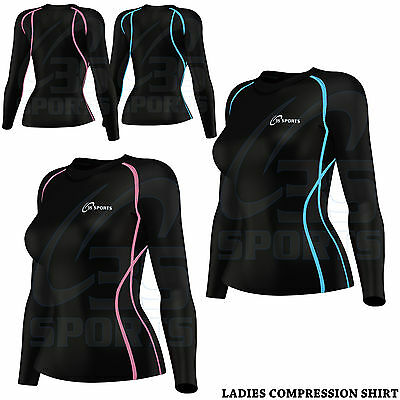 Women's Compression Top Long Sleeve Base Layer Running Gym Training Top 3S New