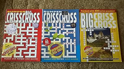 3 X Bumper Big Criss Cross Puzzle Books Over 100 Puzzles Per Book.