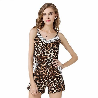 Girls Brown Leopard Print Jumpsuit Elastic Waist Age 11 - 15years