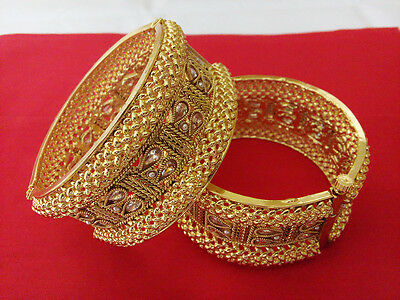 South Indian Jewelry Antique Bangle Bracelets Bollywood Ethnic Gold plated Kadas