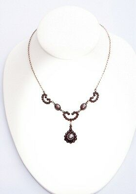 Vintage garnet bow necklace in Victorian style || ГРАНАТ CX9R53EFL