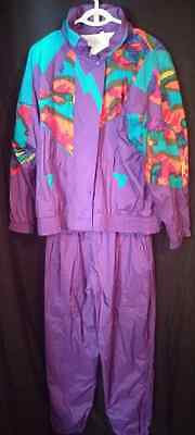 Warm up suit vtg 80s 90s retro Otello Pelle womens purple nylon jacket pants M