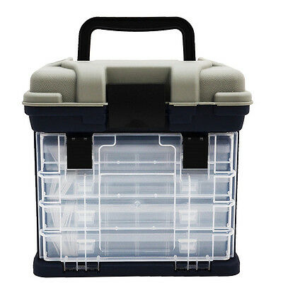 Tackle Box 4 Removable Tackle Tray System With Top Bulk Storage Fishing BO