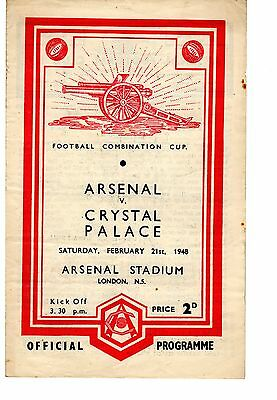 Arsenal v Crystal Palace Reserves Programme 21.2.1948 Combination Cup