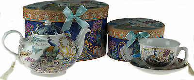 Teal Blue Peacock China Teapot Tea Cup And Saucer Set In Gift Box