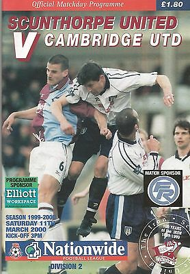 Scunthorpe United v Cambridge United, 11 March 2000, Division 2