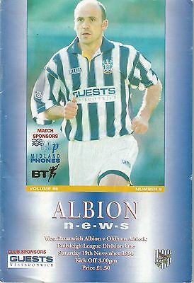 West Bromwich Albion v Oldham Athletic, 19th November 1994, Division 1