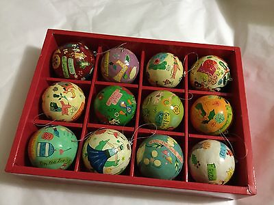 EXCELLENT CONDITION Crate and Barrel 12 Days of Christmas Paper Mache Ornaments