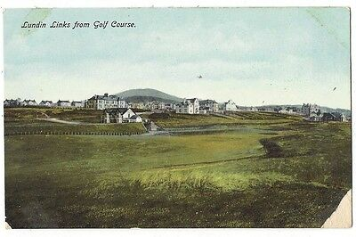 LUNDIN LINKS from Golf Course, Old Postcard Pub by Young, Unused