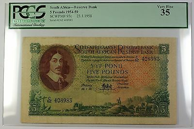 1954-59 23.1.1958 South Africa 5 Pounds Bank Note SCWPM# 97c PCGS VF-35 (A)