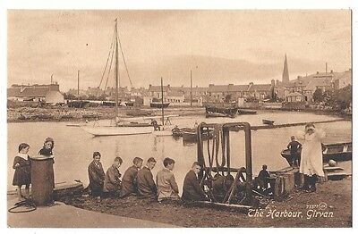 GIRVAN The Harbour, Animated Scene, Old Postcard by Cully of Girvan Unused