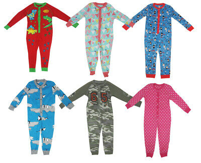 Kids Boys Girls All in One Pyjamas Nightwear Age 1-14 Cotton Character