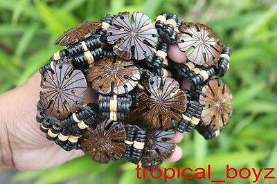10 Brown FLOWER Coconut Shell Wood Wooden Slip-knotted Bracelets Wholesale