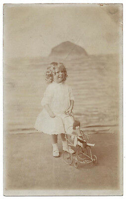 SOCIAL HISTORY Girl with Pram, Ailsa Craig Backdrop, RP Postcard Unused