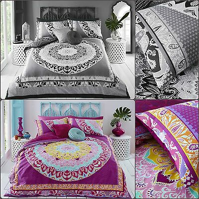 Pieridae Paisley Mandala Pink And Grey Duvet Bedding Cover Set With Pillow case