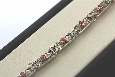 Handmade Filigree Scroll Bracelet with Coral Stone Inlay- Sterling Silver 925