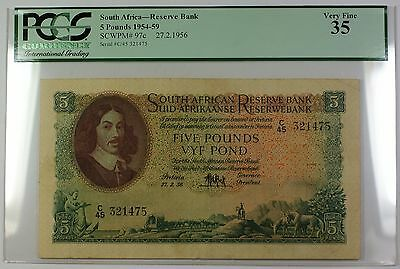 1954-59 27.2.1956 South Africa 5 Pounds Bank Note SCWPM# 97c PCGS VF-35 (E)