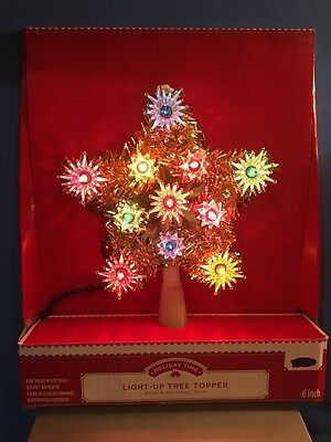 NEW! Christmas Star Light Up Tree Topper Retro Gold