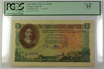 1954-59 7.3.1957 South Africa 5 Pounds Bank Note SCWPM# 97c PCGS VF-35 (G)