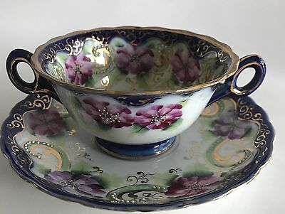 Antique NIPPON Hand Painted Moriage Purple Floral Design Bouillon Cup and Saucer