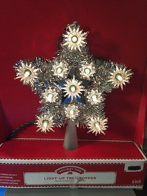 NEW! Christmas Star Light Up Tree Topper Retro Silver Holiday
