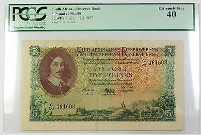 1954-59 7.3.1957 South Africa 5 Pounds Bank Note SCWPM# 97c PCGS EF-40 (C)