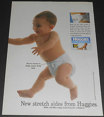 1995 vintage ad page - HUGGIES ULTRATRIM DIAPERS - 1-PAGE PRINT ADVERT rare