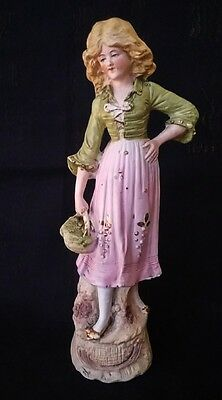 Antique Bisque Figurine Girl With Basket #10700 9¾ Inches