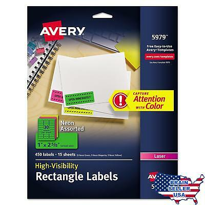 Avery round laser labels 5293 844 picclick avery neon laser labels rectangle assorted fluorescent colors 1 x 2 saigontimesfo