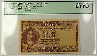 (1962-65) No Date South Africa 1 Rand Bank Note SCWPM# 103b PCGS EF-45 PPQ