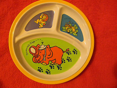 Childs plate 3 section melamine hard plastic dish jungle animals