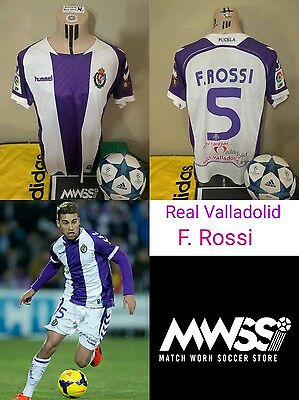 Match worn shirt Camiseta Futbol Real Valladolid Player F. Rossi vs FCB LFP