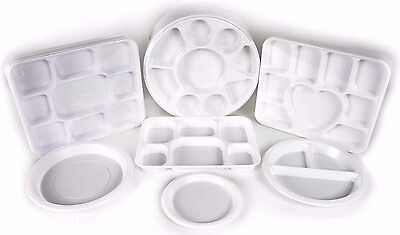Disposable Plastic Plates Compartment Section Trays Thali Wedding Catering Party