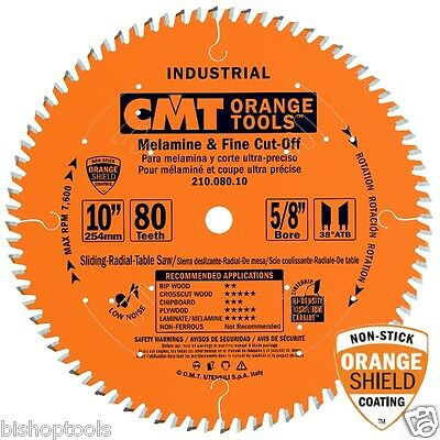 "CMT 210.080.10 10"" x 80T Industrial Melamine Fine Cut-Off Table Saw Blade"
