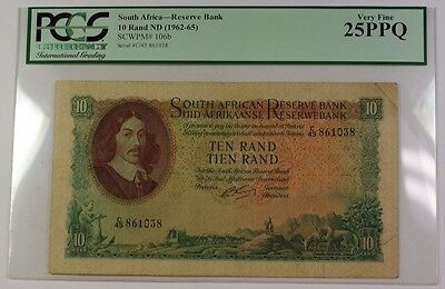 (1962-1965) South Africa 10 Rand ND Reserve Bank Note SCWPM# 106b PCGS VF-25PPQ