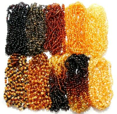 Wholesale Lot of 10 Genuine Raw Baltic Amber Beads Baby Necklaces Child 4 Colors
