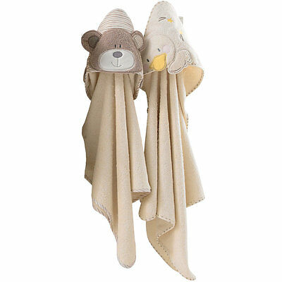 B is for Bear Hooded Soft Bath Towel - 2 Pack, Newborn Baby Cotton Robe